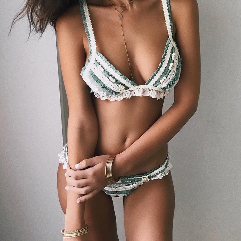 Splice Lace Female Swimsuit Push Up Swimwear Women Biquinis Triangle Ruffled Bikinis 2019 Mujer Bathing Suit Summer Beach Wear