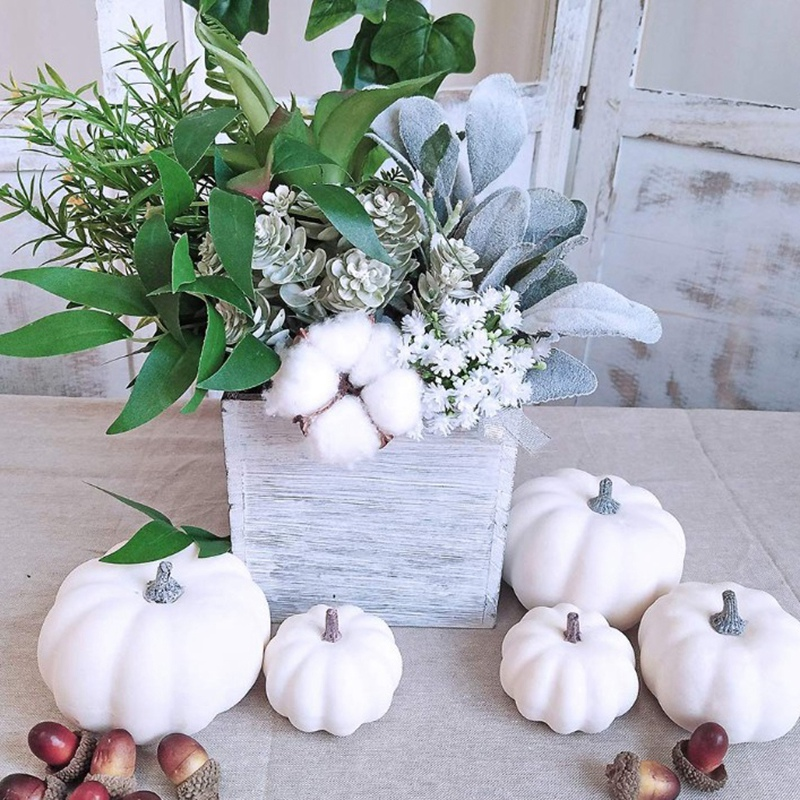 6 PCS Fake White Pumpkin Autumn Fall Halloween Christmas Decoration Autumn Thanksgiving Decoration Harvest Decoration and Displa