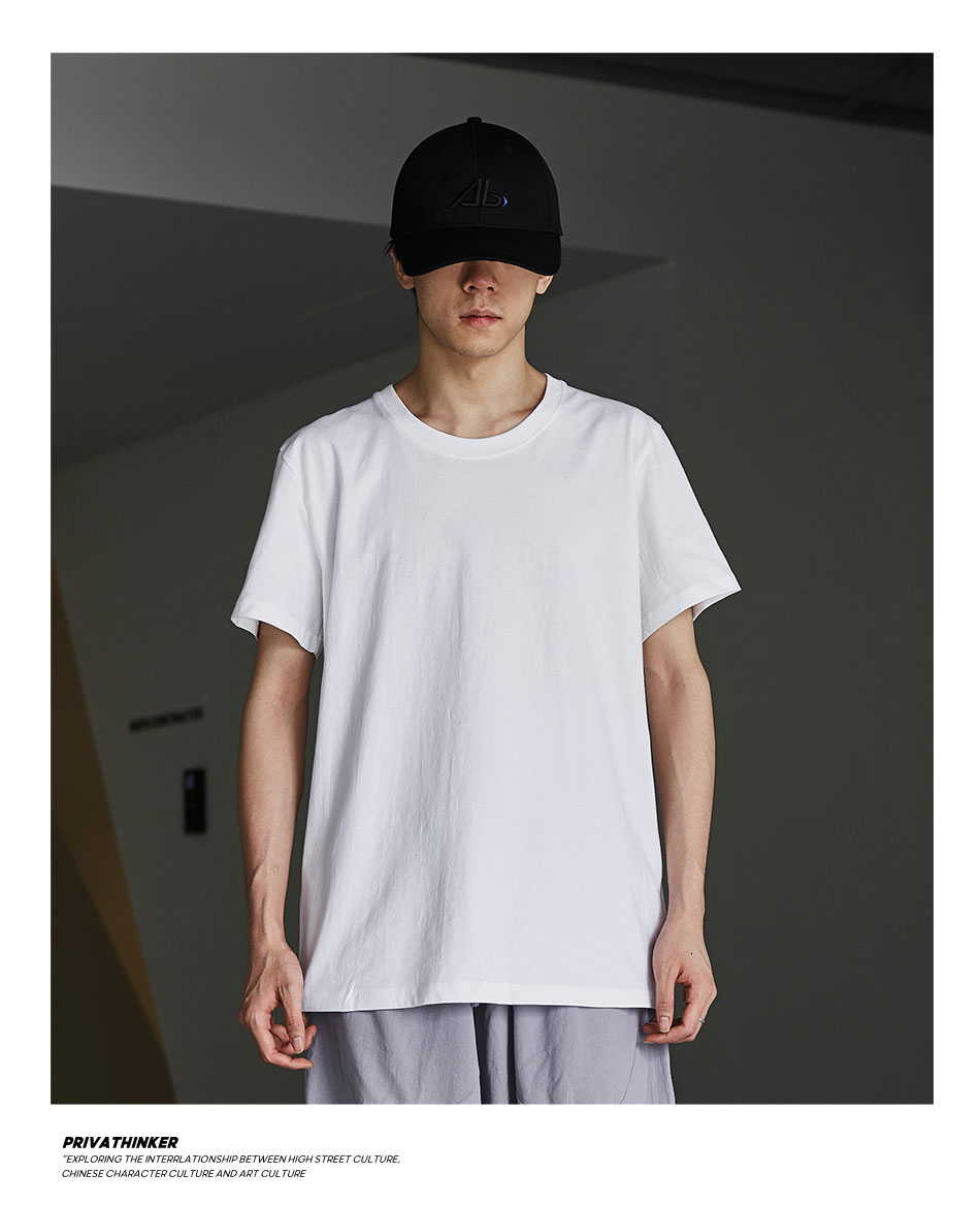 Privathinker  Men Summer Cotton T shirts Solid Color Short Sleeve Man Tees 2020 Basic Men's Casual Tops T-shirt