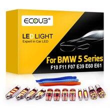 20 + pçs branco erro livre canbus lâmpada led kit de iluminação interior para bmw série 5 e39 e60 e61 f10 f11 f07 dome mapa tronco footwell