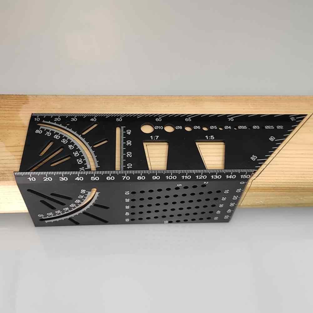 In Lega di Alluminio multifunzionale 45 90 Gradi Angolo Righello Preciso Lavorazione Del Legno Quadrato Angolo di Righello Marcatura Gauge Strumento Falegname