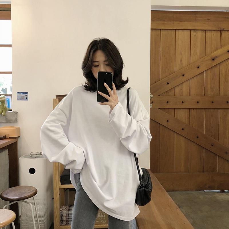 2021 spring Solid Simple oversized tshirt harajuku long T Shirt Women kawaii T shirts Women 90s White yellow long Sleeve Tops