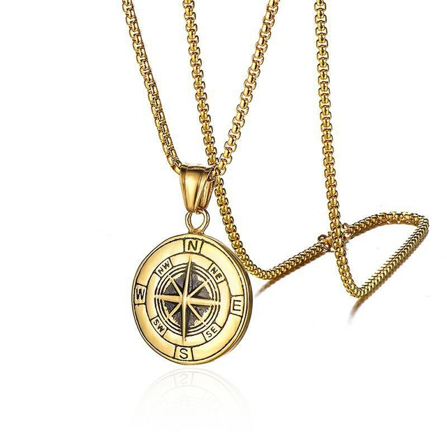 Men Funky Fashion Necklace Gold Metal Chain Compass Pendant Hip Hop Bold Jewelry