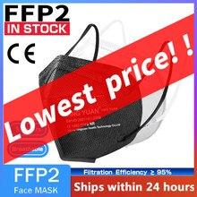 1-200 peças ce ffp2 kn95 máscara facial 5 camada filtro de poeira porta pm2.5 mascarillas ffp2 não tecido saúde protetora n95 ffp2mask