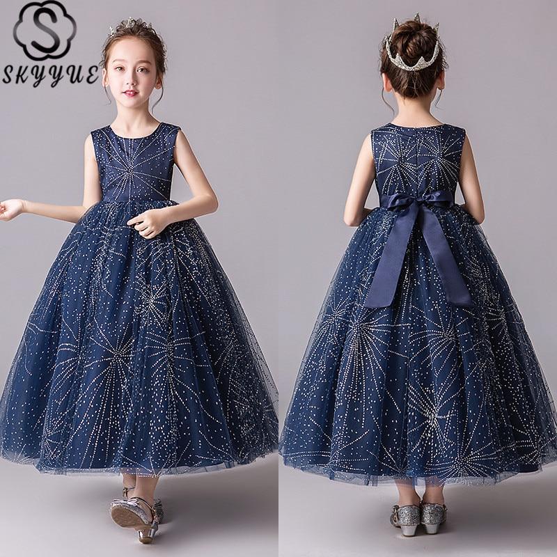 Skkyue Kid Party   dress   Printing   Flower     Girl     Dress   for Wedding Star Red O-Neck Long Communion   Dress   4-15 Years 2019 BX2966
