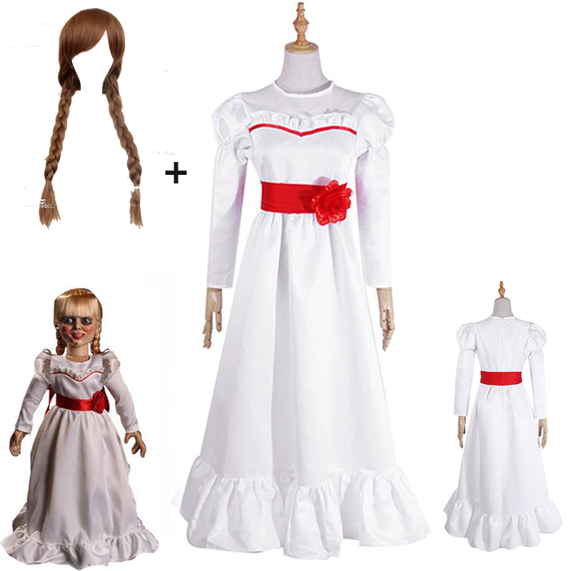 2019 Movie Annabel Cosplay Costume Halloween White Dress For Women Kids Adult Halloween Costume And Wig Horror Conjurining