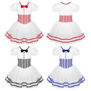 Image 2 - Kinder Mädchen Kurze Spitze Ärmeln Gestreiften Mesh Tutu Ballett Eiskunstlauf Kleid Gymnastik Trikot Performance Dance Wear Kostüme