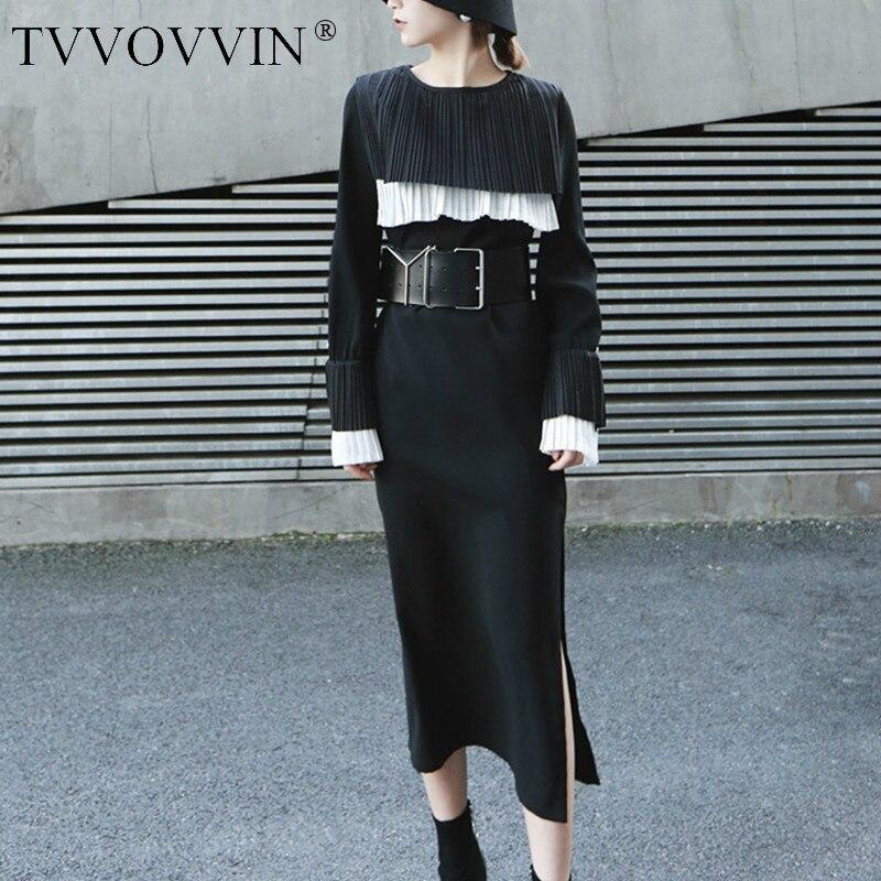 TVVOVVIN femmes noir plissé Joint longue robe nouveau col rond manches longues lâche Fit mode marée printemps automne 2019 D358