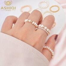 ASHIQI 여성을위한 작은 자연 담수 진주 커플 반지 여성을위한 진짜 925 스털링 실버 주얼리 도매 패션 선물