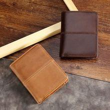 купить Men's Genuine Leather RFID Blocking Wallet Pocket Credit Card Holder Business Clutch Purse дешево