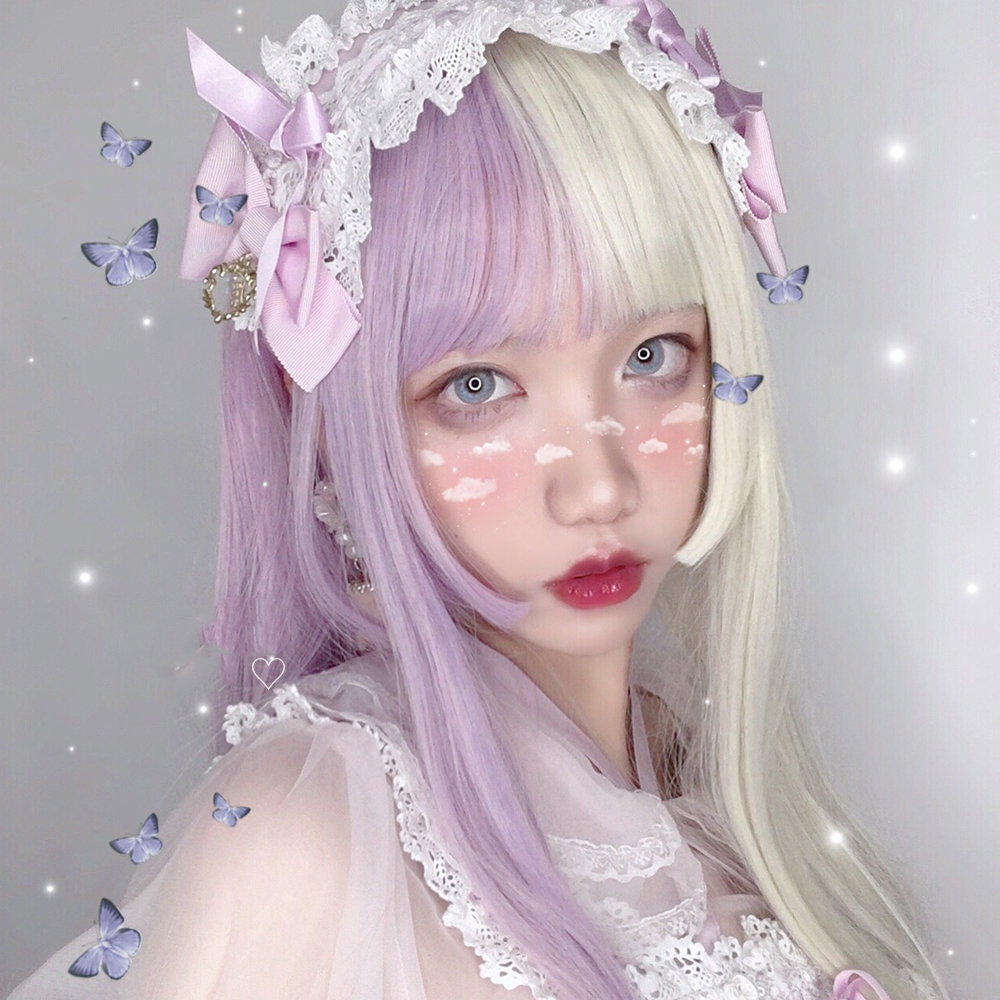 MANWEI Lolita 56CM Purple Potato Color Long Straight Hair Curly Blonde Doll Japan Bangs Fringe Hair   Synthetic Cosplay Wig