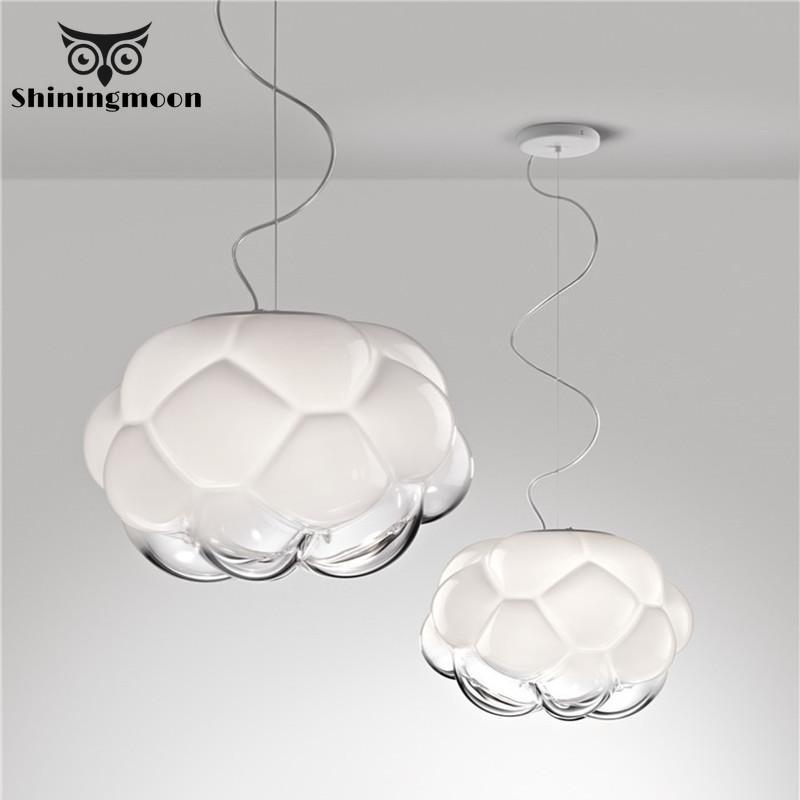 Modern Glass Cloudy Pendant Lights Nordic Creative Loft Bedroom Pendant Lamp Living Room Dining Room Home Decor Light Fixtures