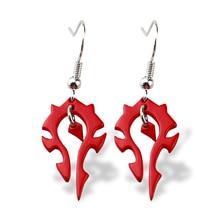 New World of Horde Drop Earrings the Horde Symble Game/Movie Punk Jewelry WOW Red enamel Earrings