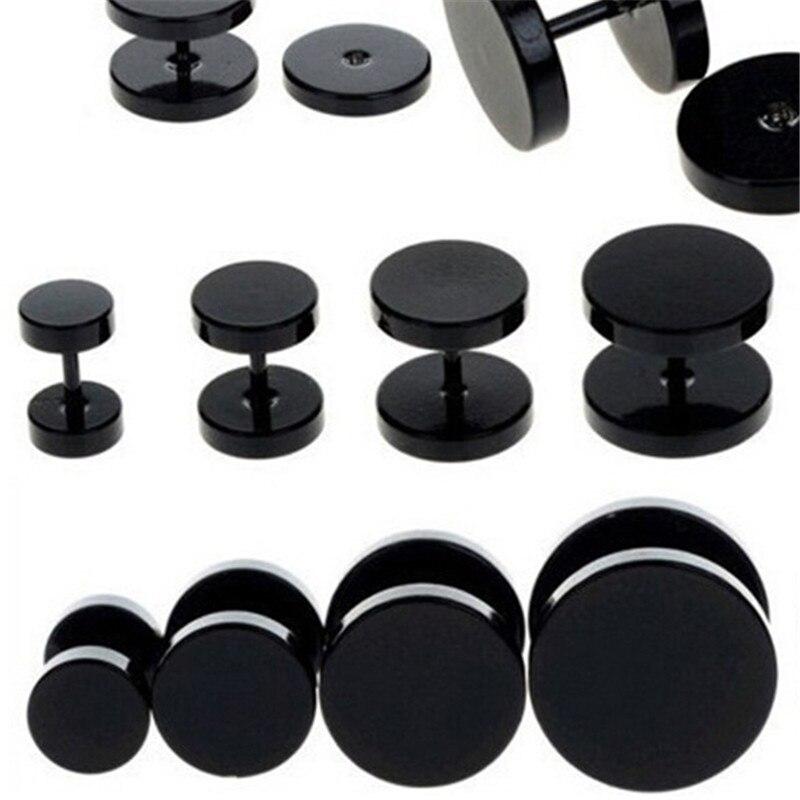 Женские круглые серьги-Пусеты Из Нержавеющей Стали, черные серьги-пусеты в стиле панк, одна пара, A758