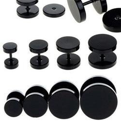 Brincos pretos redondos, um par de brincos de haste redondos de aço inoxidável para mulheres, piercing de halteres, joias da moda punk a758