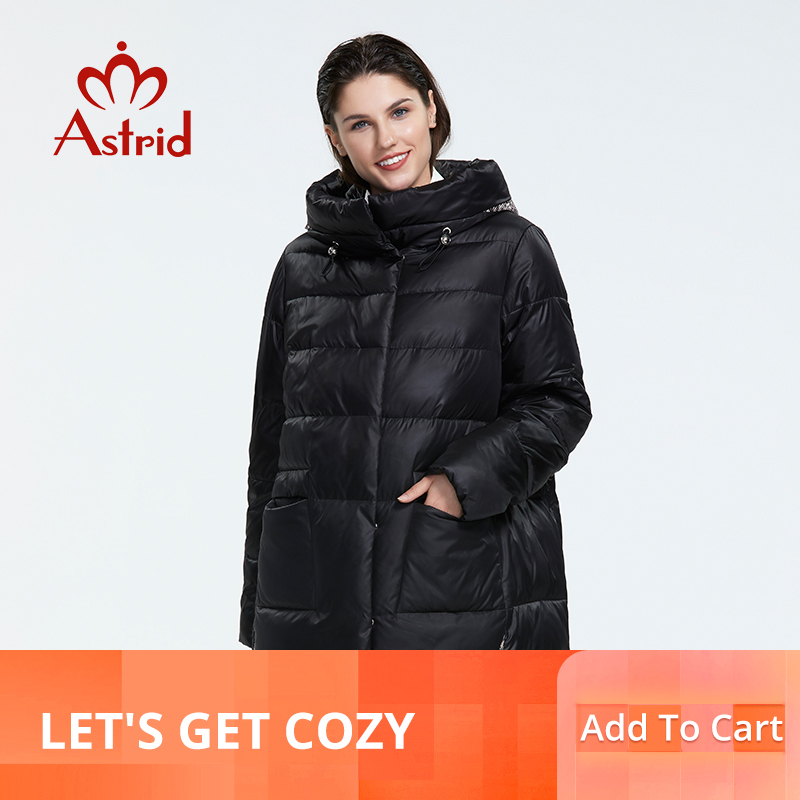 Kadın Giyim'ten Parkalar'de Astrid2019 kış yeni varış şişme ceket kadınlar gevşek giyim giyim yüksek kalite kısa stil kadın ceket ile hood AR 8960'da  Grup 1