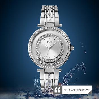 Dorywczo mody twórczej Rhinestone inkrustowane panie wodoodporny zegarek kwarcowy cały mecz SKMEI1740 kobiet zegarki tanie i dobre opinie QUARTZ NONE Zapięcie bransolety CN (pochodzenie) STOP 3Bar Moda casual ROUND Odporne na wodę Szkło SJ17400 bez opakowania