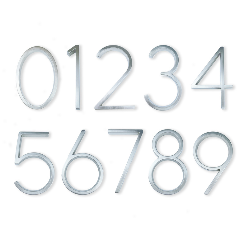 12cm Big 3D Modern House Number Door Home Address Numbers for House Number Digital Door Outdoor Sign Plates 5 Inch. #0-9 Silver(China)
