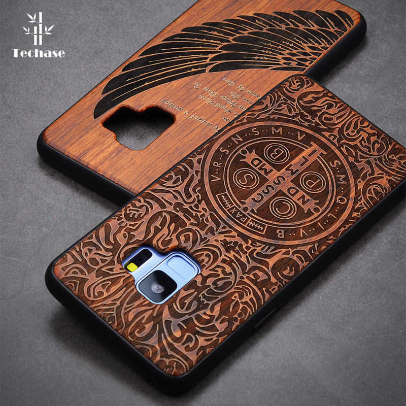 Techase Wooden Phone Case For Samsung Galaxy S9 S9 Plus S8 S7 Edge S6 Note 5 Note 8 Real Wood Anti-Knock Protective Back Cover image