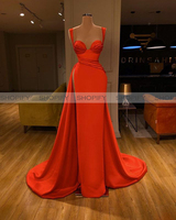 Simple Long Red Evening Dresses 2020 Sweetheart Asymmetrical Sexy High Slit Red Satin Arabic Style Dubai Women Formal Gowns