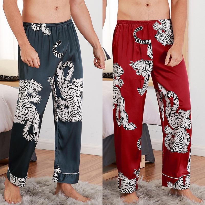 2020 New Men Sleeping Pants Animal  Print Variety Styles Sleep Bottoms Trousers Soft Pants Faux Silk Household Wear