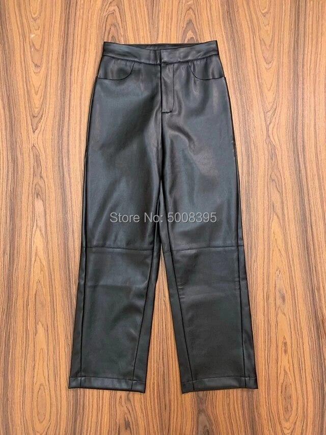 Moda kobieta czarny Novara skórzane spodnie skręcone szew przycięte spodnie boczne kieszenie z prawdziwej skóry 2019 jesień zima w Spodnie i spodnie capri od Odzież damska na  Grupa 3