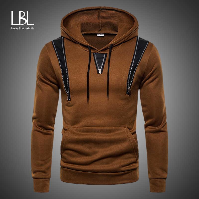 2019 Sisi Zipper Hoodies Pria Kapas Berkerudung Sweatshirt Musim Semi Cetak Olahraga Slim Pullover Pakaian Latihan Yg Hangat Hip Hop Streetwear Hoody