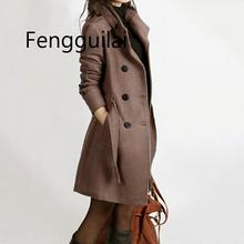 New Women Long Coat And Jacket Autumn Winter Elegant Women Wool Coats Long Jackets Korean Version Slim Trench Coat With Straps недорого