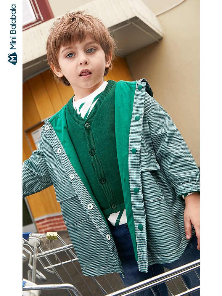 Minibalabala, chaqueta para niños, con capucha para niños y niñas Chaqueta larga, otoño 2019, nuevo a cuadros, ropa casual