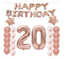 20th Birthday Decorations Party Supplies Balloons Rose Gold Happy Banner 20 number