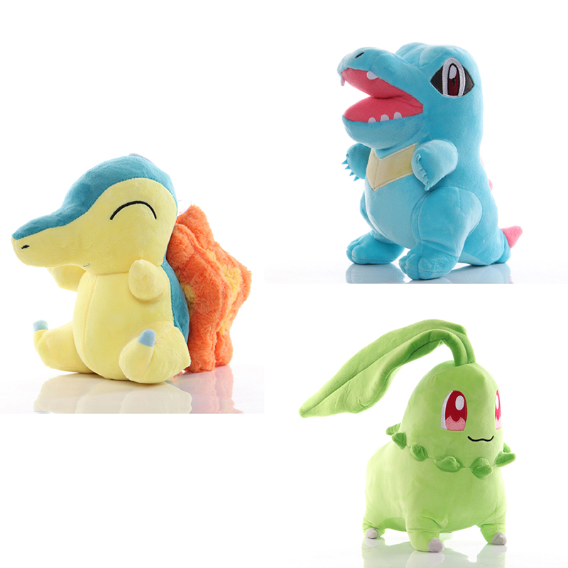 30 CM Cyndaquil Chikorita Totodile Plush Toys Kawaii Cartoon Gosanke Soft Stuffed Dolls for Kids Gifts Presents