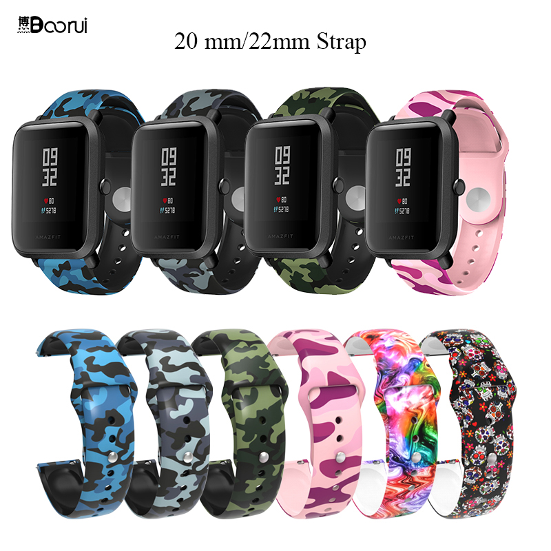 BOORUI Pulsera Amazfit Bip Strap Silicone 20mm Watch Strap Watch Band For Xiaomi Huami Amazfit Bip Pace Lite Belt 20mm