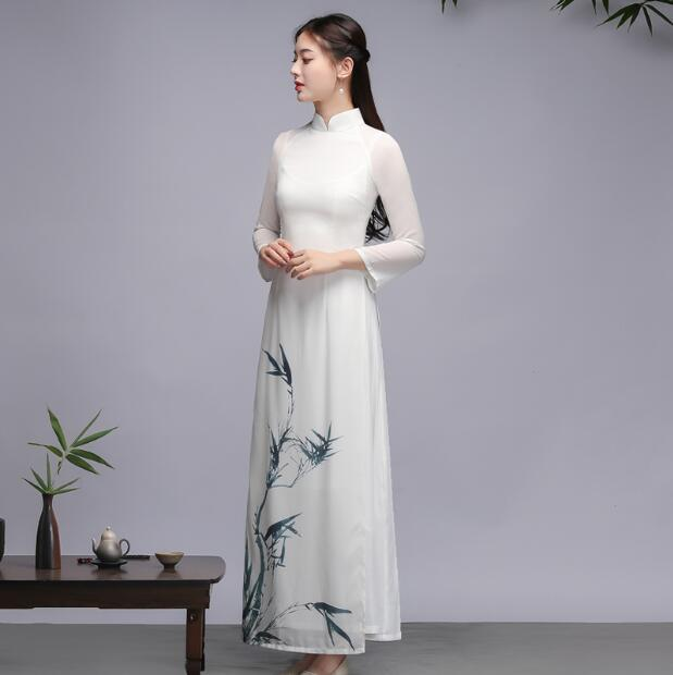 Traditional Vietnam Ao Dai Spring Dress Cheongsam Dresses Qipao Vintage