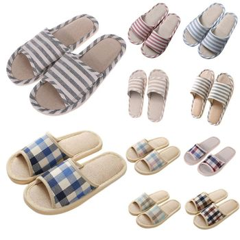 Adult Linen Striped Slippers Women House Summer Flax Shoes Indoor Floor Sandals Hot New Size 37-40 цена 2017