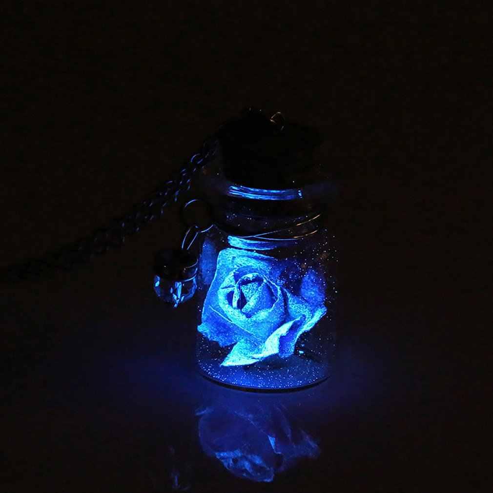 רומנטי זוהר זוהר בחושך רוז פרח תליון שרשרת ניאון זכוכית מאחל בקבוק שרשרת קולר שרשרת תכשיטי מתנה