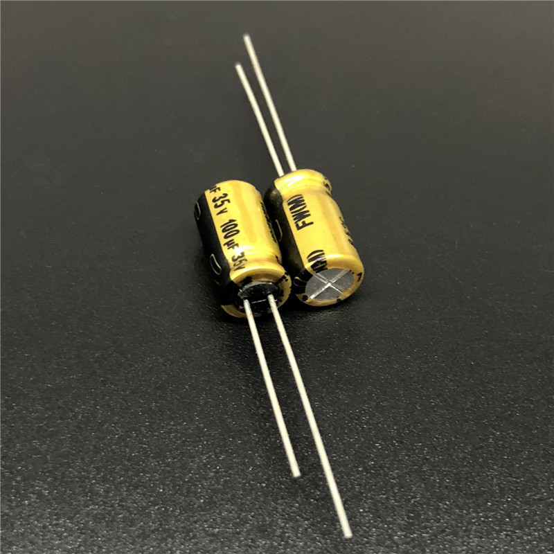 10Pcs/100Pcs 100uF 35V NICHICON FW Series 6.3x11mm 35V100uF HiFi Audio Capacitor