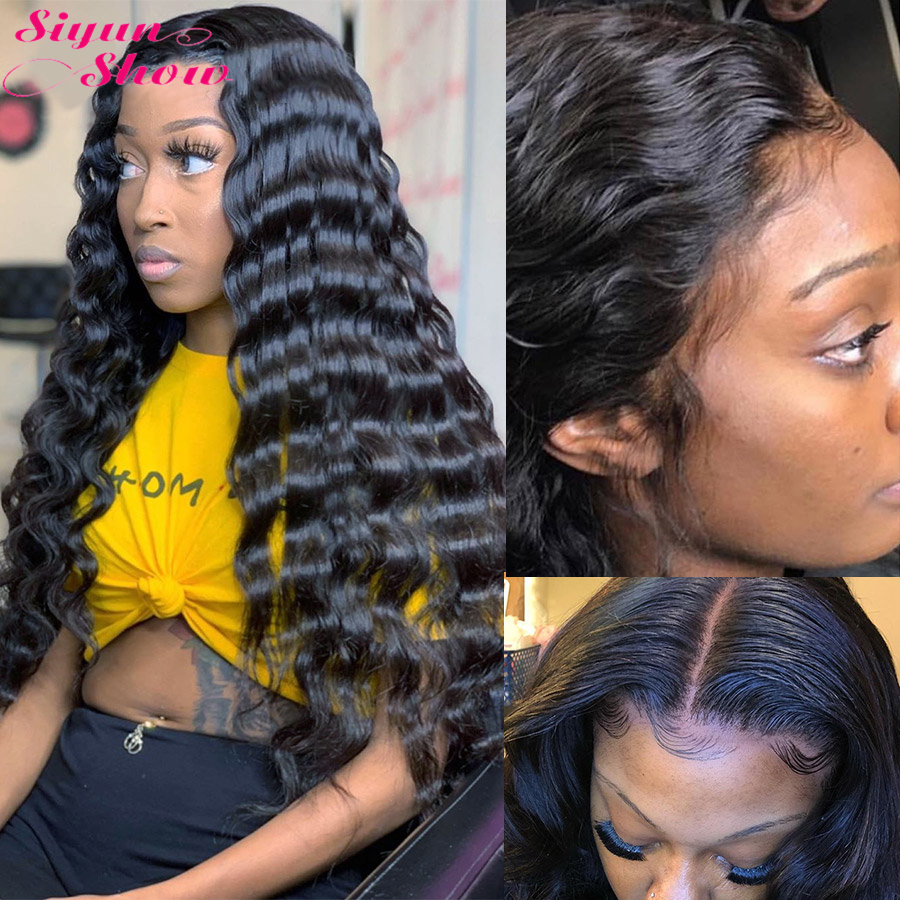 Siyun Show 250 Density Lace Wig Long 30 Inch Loose Deep Wave Wig Remy 13x6 Lace Front Human Hair Wigs For Women Pre Plucked