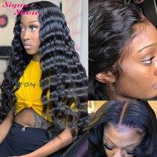 Medyun show peruca longa de renda densidade 250, 30/Polegada solta, onda profunda, remy 13x6 frontal humano perucas de cabelo para mulheres pré selecionado