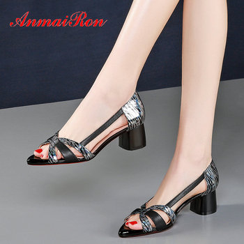 ANMAIRON 2020 Genuine Leather Casual  Slip-On Women Sandals  Synthetic Basic Leopard Sexy Square High Heels Women Shoes 34-40