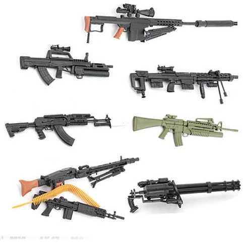 1:6 Merakit Gun 1 / 6 Senjata Model AK 47 Senapan M82A1 Senapan Sniper Gatlin M134 Plastik Gun Simulasi Militer mainan Warna Acak