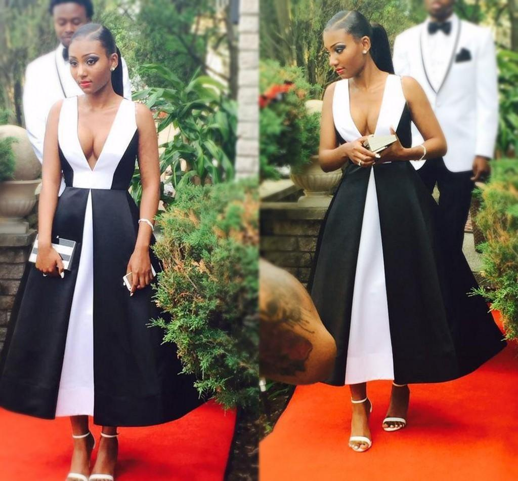 African A Line Black White Prom Dresses Deep V Neck Tea Length Evening Gowns Backless Dress Gowns Party Wear robes de soirée