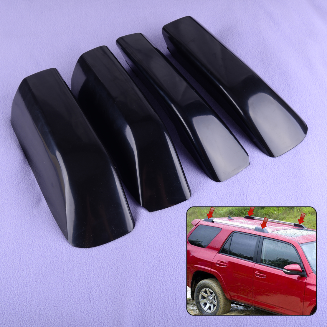DWCX 4PCS Car Roof Luggage Rack Rail End Cover Shell fit for Toyota 4Runner N280 2010 2011 2012 2013 2014 2015 2016 2017 2018