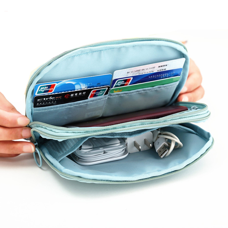 Travel Wallet Card Package Multi-purpose Passport ID Card Credit Card Storage Bag Cosmetics Charger Data Cable Organizer Bag