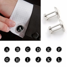 26 Letters Print Men #8217 s Suits Shirt Cuff Links Silver Plated Glass Cabochon French Letter Cuff Cufflinks Wedding Cuff Accessories cheap ESSPOC Zinc Alloy ROUND Simulated-pearl Unisex Neo-Gothic