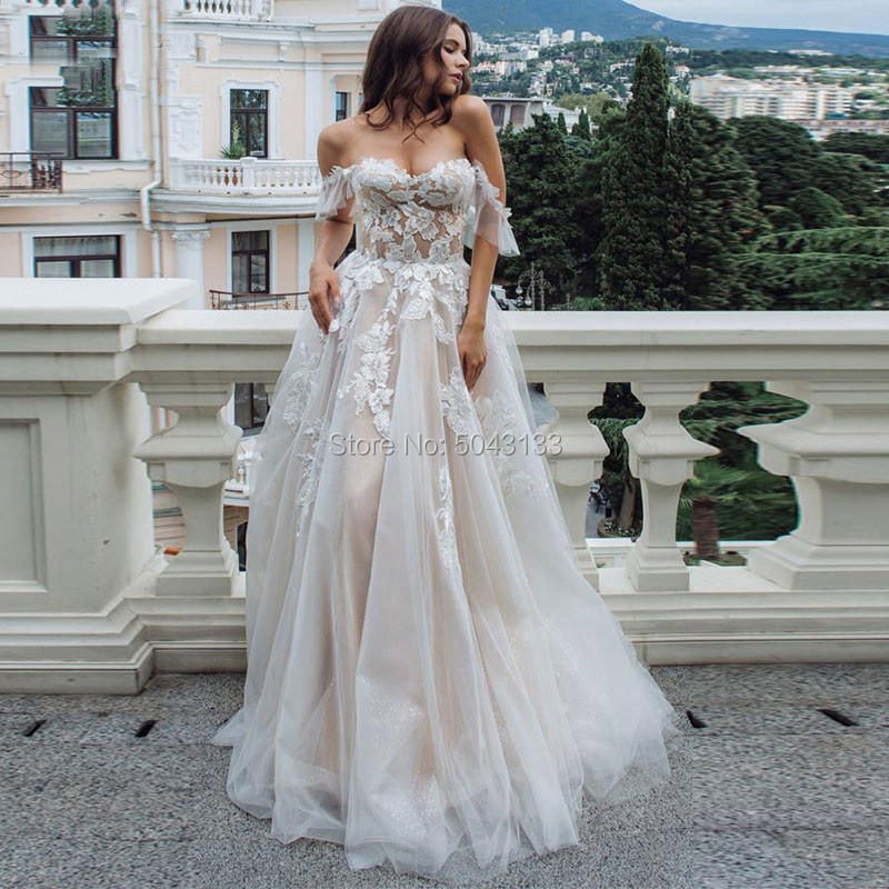 Wedding-Dresses Formal-Dress Tulle Lace Sweetheart Appliques Brides Sexy Off-Shoulder