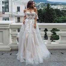 2021 Sexy Người Yêu Ren Appliques Một Dòng Áo Váy Voan Lệch Vai Tay Áo Cưới Cho Cô Dâu Form Đầm Suông
