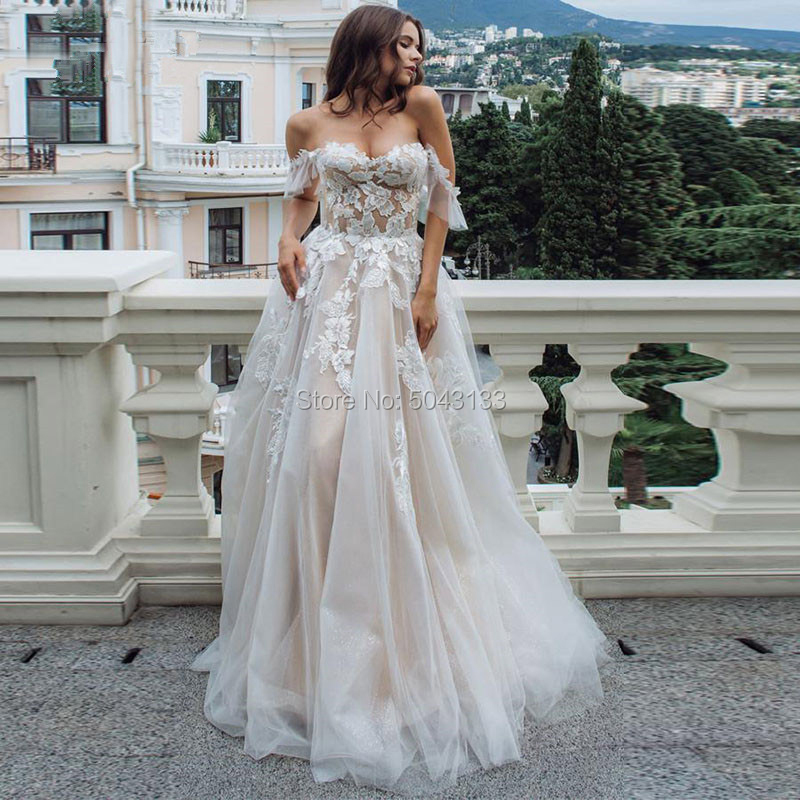 Sexy Sweetheart Off Shoulder A Line Wedding Dresses Champagne Lining Appliques Tulle Sleeveless Bridal Gowns for Brides Formal