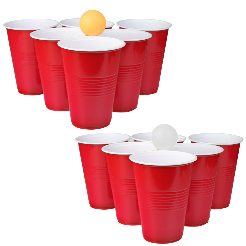 Besegad 12pcs Disposable Red Plastic Party Cups With 2pcs Table Tennis Balls For Halloween Holiday Birthday Wedding Party 16oz