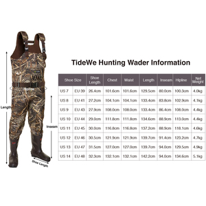 Image 5 - TideWe الصيد الصيد بدلات واقية للصدر للرجال النساء Realtree MAX5 كامو مع 600G العزل مقاوم للماء Cleated النيوبرين bootfeet