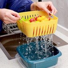 2pcs PP Kitchen Accessories Dish Drainer Double Layer Fruit Basket To Organize Food Storage Baskets Multifunction Kitchen Basket
